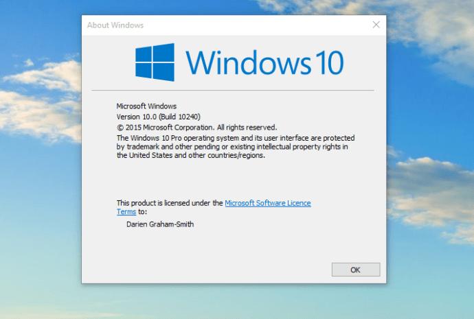 Windows 10 registered to Darien