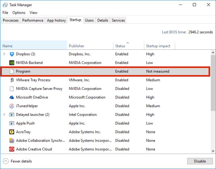windows task manager unknown program