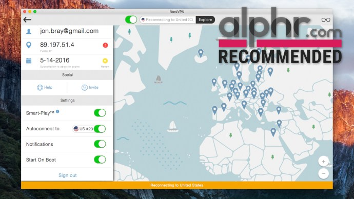 NordVPN UI with Alphr award