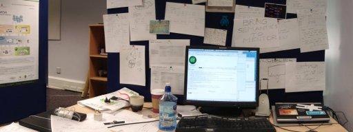 Brainstorming at a desk