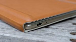 Huawei MateBook in case, USB Type-C port closeup