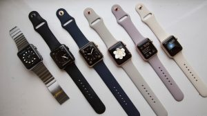 Apple Watch zoomed out view of different strap colours