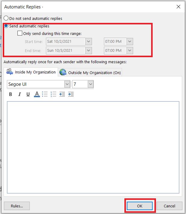 Outlook Auto Replies