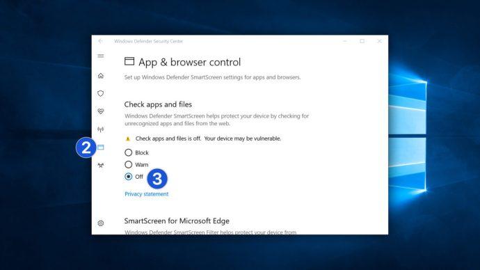 turn off smartscreen windows 10