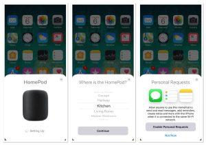 Apple HomePod setup screenshots