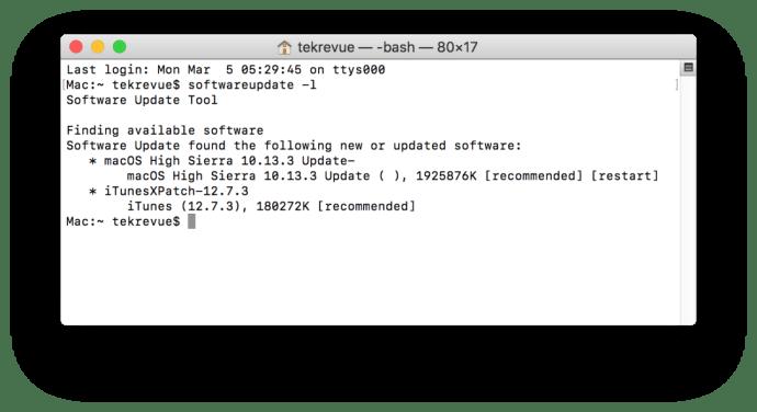 mac software update terminal list