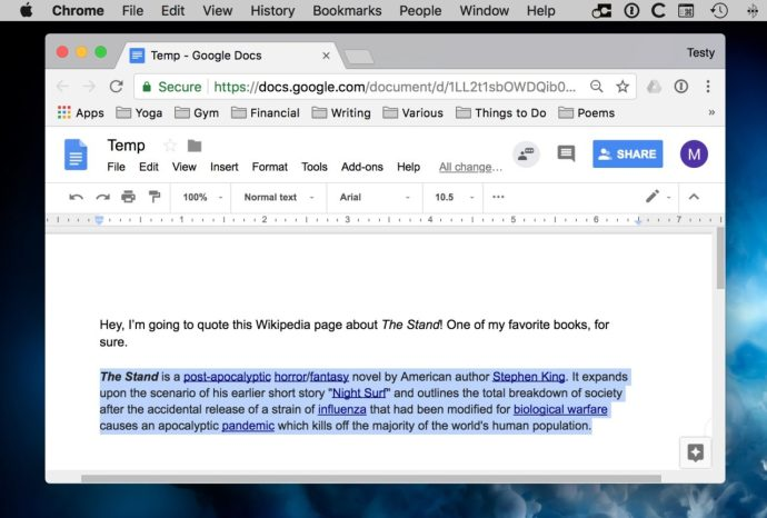 Selected Text in Google Docs