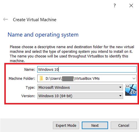 VirtualBox creation menu