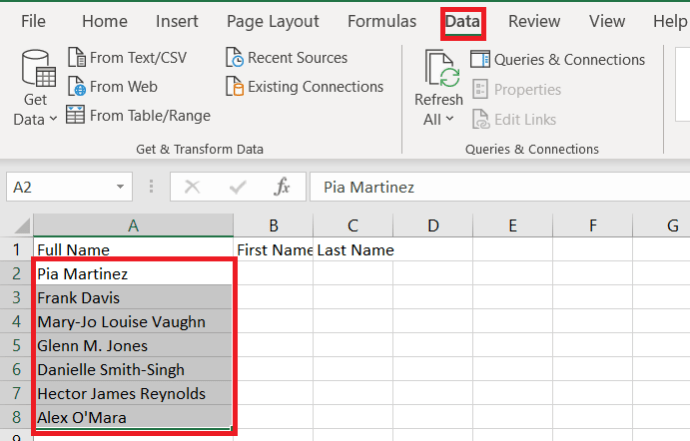 Excel Data Tab