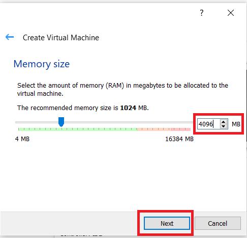 VirtualBox creation menu 2