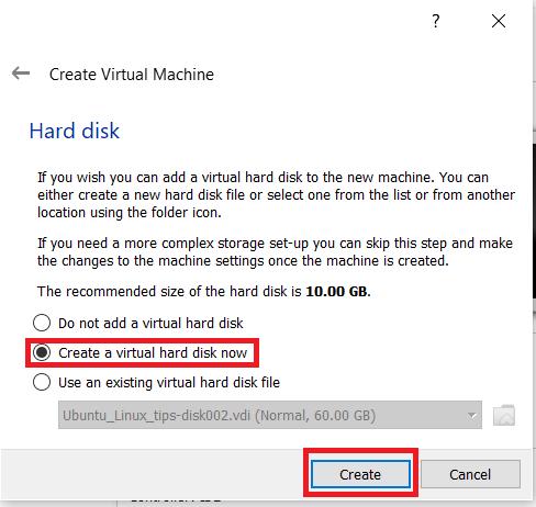 VirtualBox creation menu 3