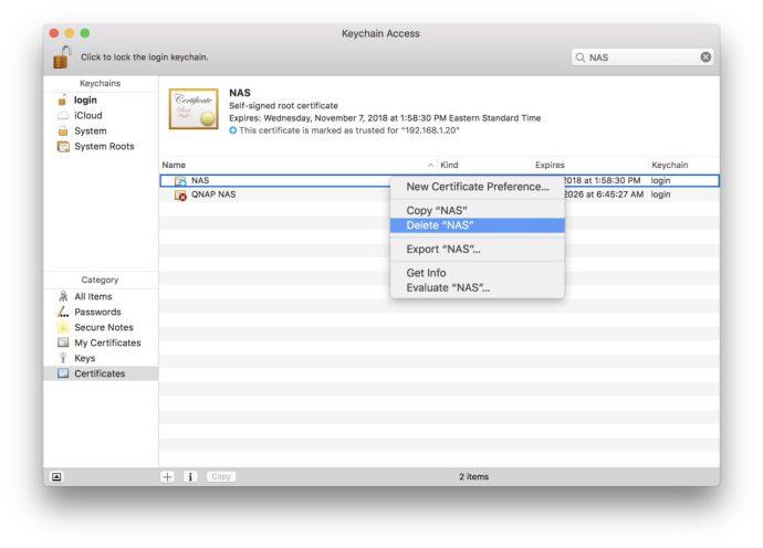 delete trusted certificate keychain access mac