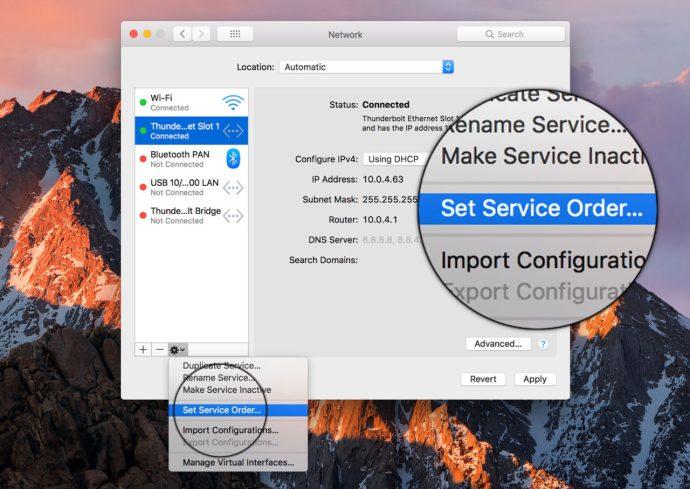 mac set service order
