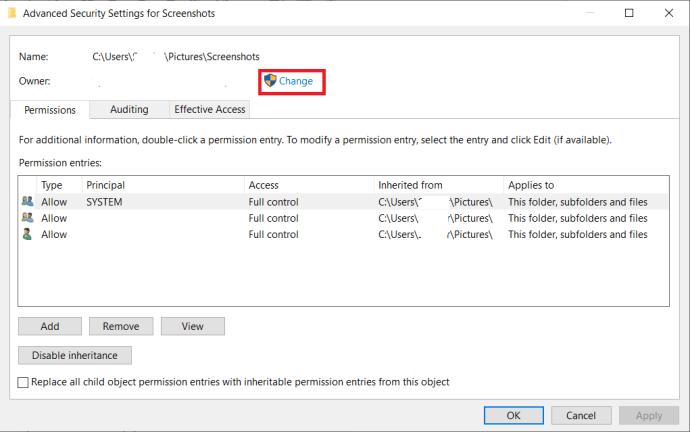 File Security Advanced Menu - Change