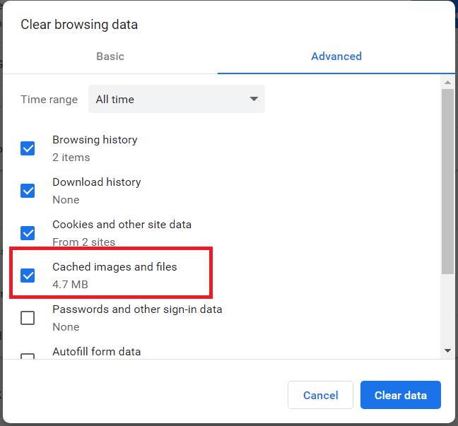 Chrome browsing data