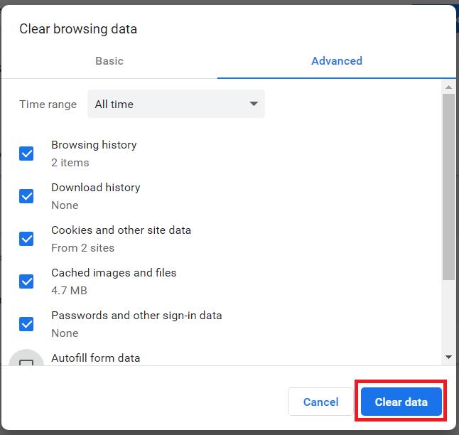 Chrome browsing data 2