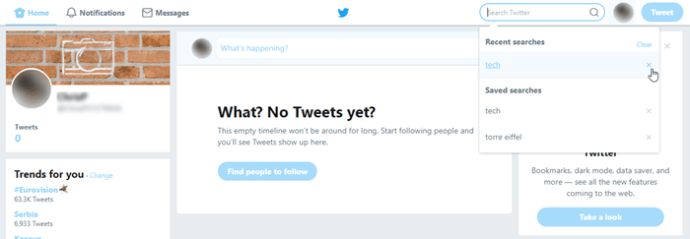 how to delete saved search on twitter