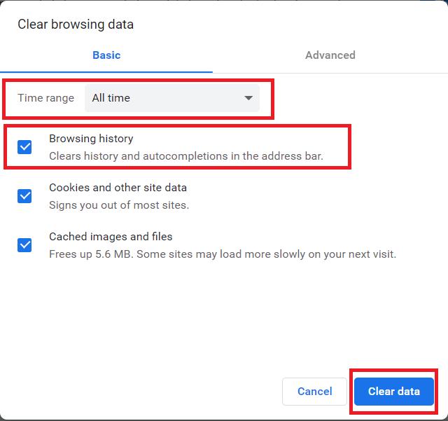 Chrome History Deletion Options