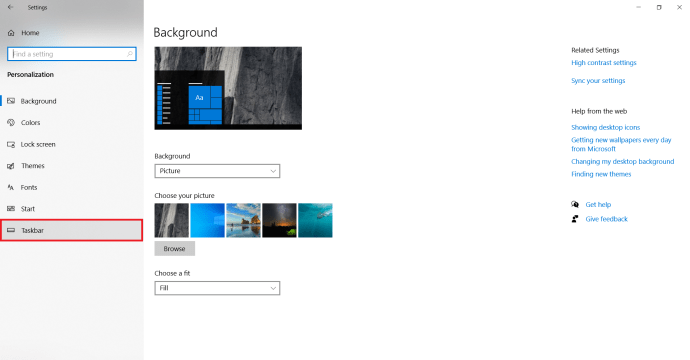 Windows Personalize settings page 2.