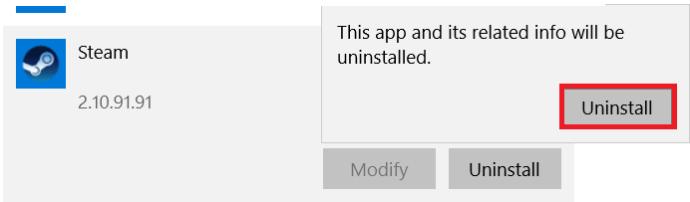 Steam uninstall window
