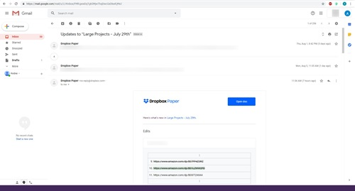 gmail thread list all number