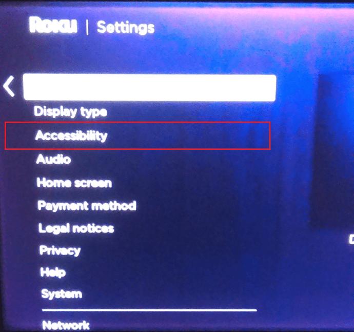 Roku settings menu