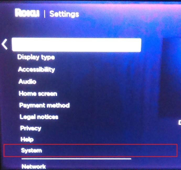 Roku settings menu 2