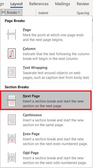 Windows Next Page Layout