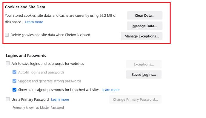 Página de privacidad y seguridad de Firefox