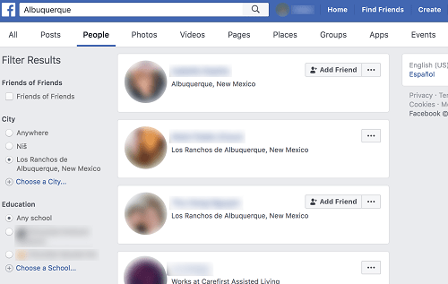 Find Friends in Specific City in Facebook