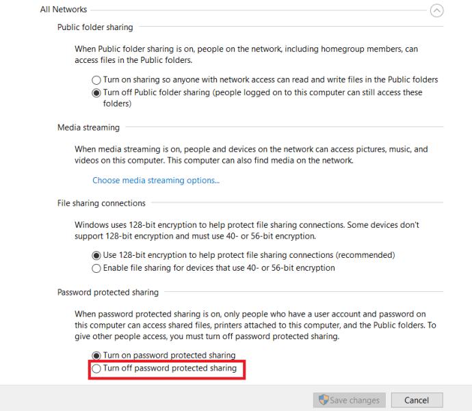 Network sharing settings 2