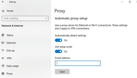 configuración automática de proxy