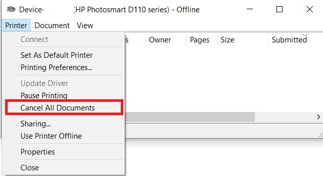 Printer menu