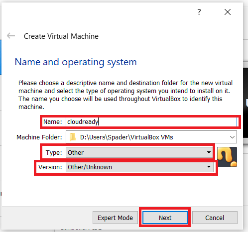 VirtualBox Creation settings