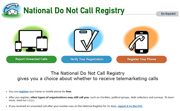 FTC National Do Not Call Registry
