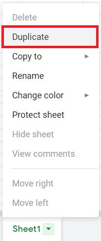Google Sheets Duplicate Setting