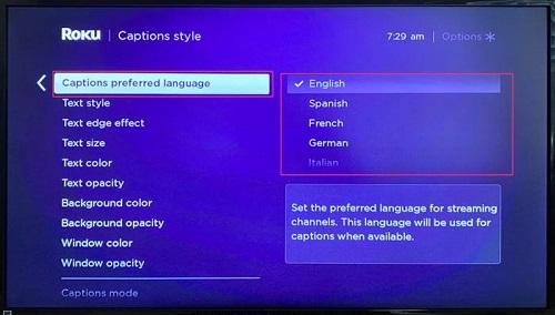 Captions preferred language
