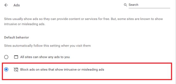 Chrome Ads Settings