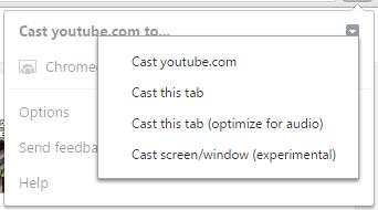 Click Google cast arrow