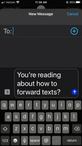 forwarding text to email on iOS
