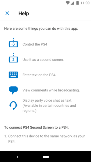 PS4 Second Screen Android App