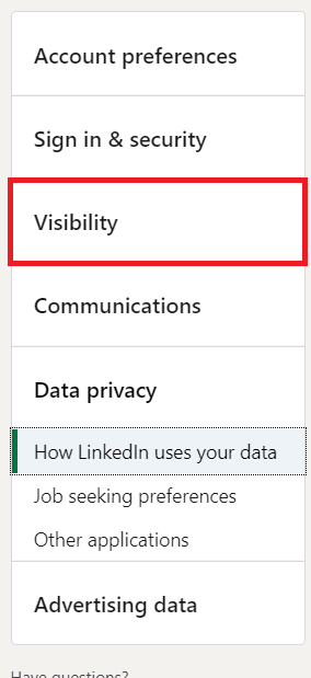 LinkedIn Menu 2