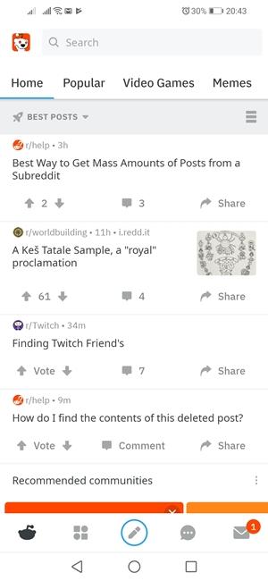 Reddit Homepage Android