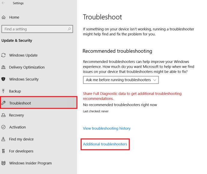Windows 10 Troubleshoot Menu