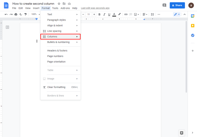 Membuat 2 kolom Di Google Docs