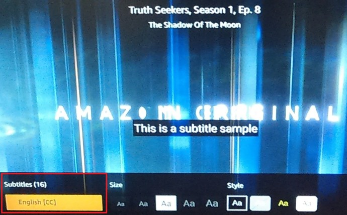 Amazon Prime Subtitles settings