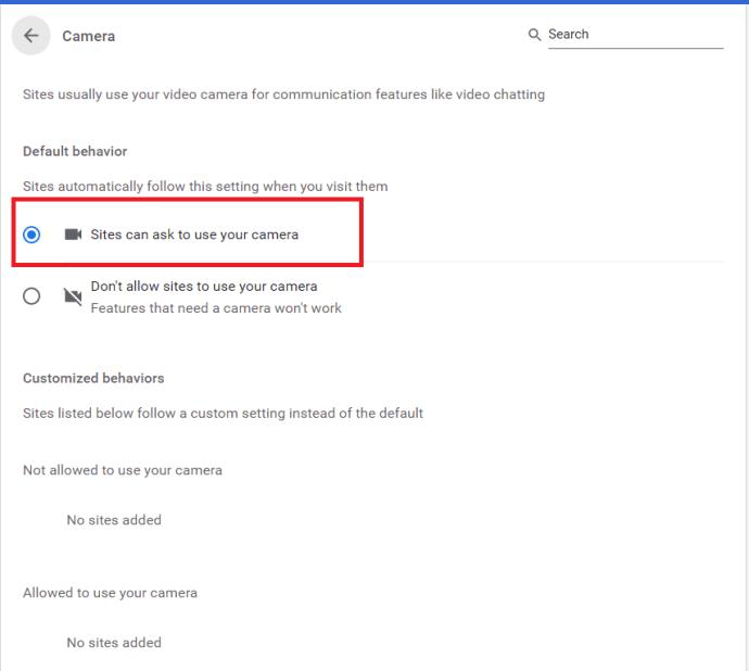 Chrome Camera Permissions