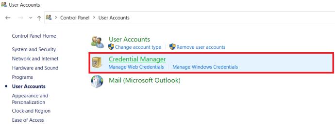 User Accounts Menu