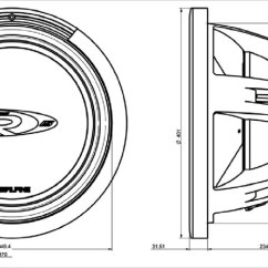 Alpine Type X Subwoofer Wiring Diagram Harbor Breeze Fan Switch 15 38cm 4ohm Swr 1542d 1522 1542 Dimension Drawing
