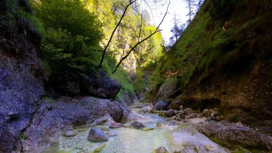 Die Wildswimming-Spots der Almbachklamm findet man eher im Unterlauf.